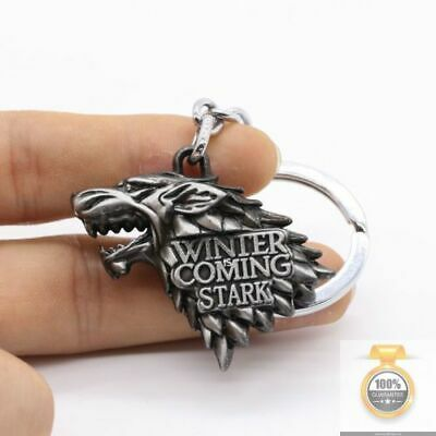 HBO Game of Thrones House Stark Head 3D Metal Keyring Keychain Silver/Gold Color