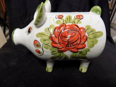 """Vintage Pottery Art~Piggy Bank~Italy~Hand Painted~Floral~8.5"""" X 7"""""""