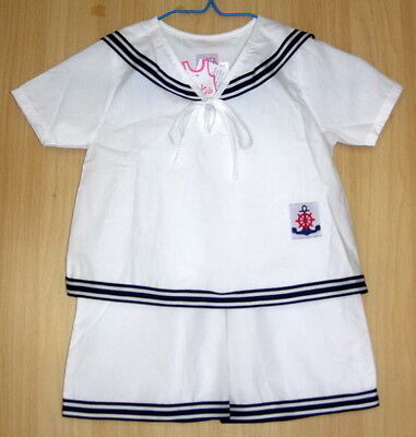 BABY BOYS SAILOR OUTFIT White Cotton Suit Wedding Christening Pajama Clothing