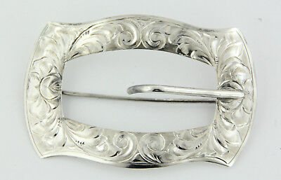 Vintage Sterling Silver .925 Swirl Etched Belt Buckle