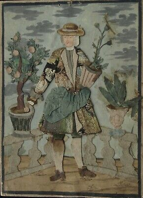 18th century fabric, paper and watercolour portrait of a Dutch gentleman