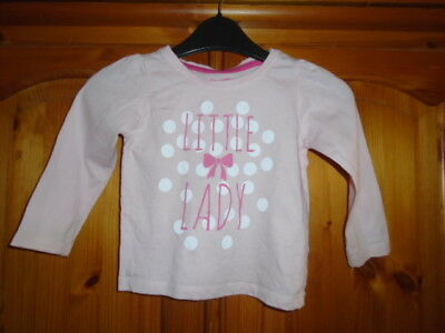 Cute girls pink long sleeve Little Lady top, PRIMARK, 9-12 months