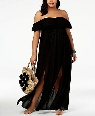 5c0fedcc4e Raviya Black Plus Size Off The Shoulder Maxi Dress Swimsuit Cover Up 2X NWT  $58