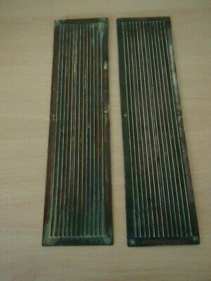 Brass Finger Plates Reeded Solid Brass One Pair