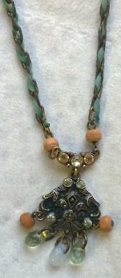 Vintage style necklace antique-gold chain / pendant woven blue ribbon wood beads