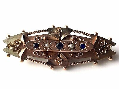 Antique 9ct GOLD SAPPHIRE & SEED PEARLS Secret Compartment on Back Brooch