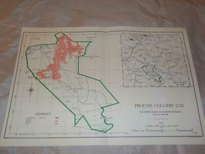 1959 Map Of Underground Workings Phoenix Colliery Coal Mines S.africa #26