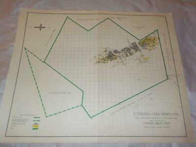 1958 Map Of Underground Workings St.helena Gold Mines South Africa  #29