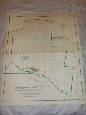 1958 Map Of Underground Workings Winkelhaak Gold Mines South Africa #31