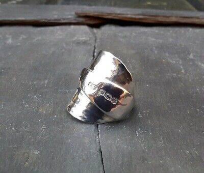 Chunky Hammered Solid Silver Spoon Ring Hallmarked 1932  Wow