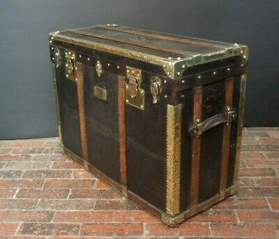 Antique French Stagecoach Travel Trunk Brass Bound