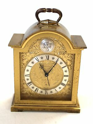 Vintage Brass SWIZA TEMPUS FUGILE Ornate Wind-Up Mantel/Carriage CLOCK - E36
