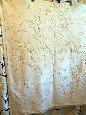 """1950'S/60'S Ivory Lace Tablecloth-62"""" X 72""""-Stains-Needs Repair"""