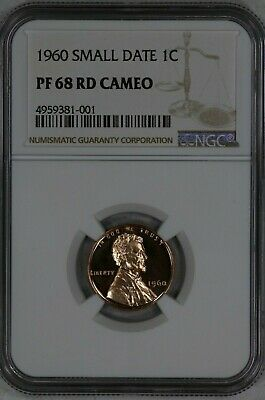 1960 Lincoln Memorial Cent Penny 1C Small Date Ngc Cert Pf 68 Rd Cam  (381-001)