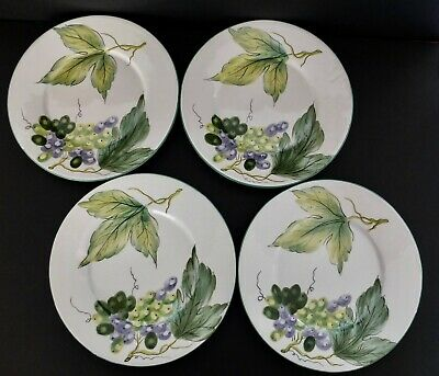 "Set Of 4 Palmer Smith Italian Hand Painted Grape Pattern 9 3/4"" Dinner Plates"