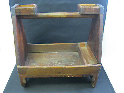 Antique/Vintage Wood Tool Carrier Caddy, Farrier, Nail Tote Copper Inserts