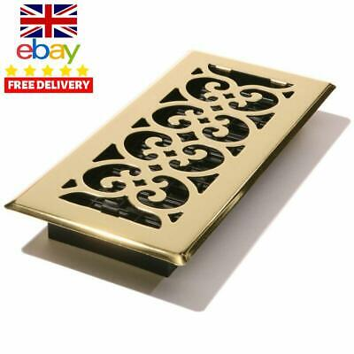 Decor Grates SPH410 Scroll Floor Register Polished Brass Finish 4 x 10Inch Vents