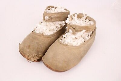 Antique Baby Shoes with Pearl Buttons Leather Bottoms