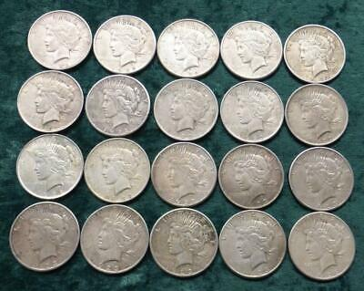 Peace Silver Dollar Roll, 20 VG-F $1 Coins, 1922, 1923 & 1926, P D & S Mints