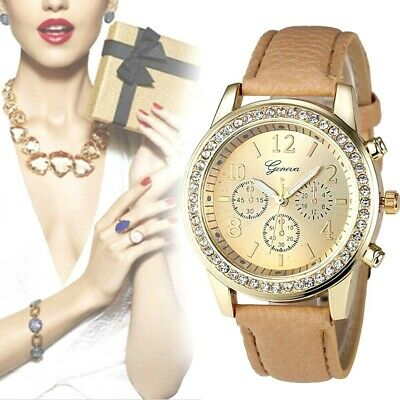 Geneva Gold Tone Iced Out Elegant Womans Watch Ships Free In 3-5 Days