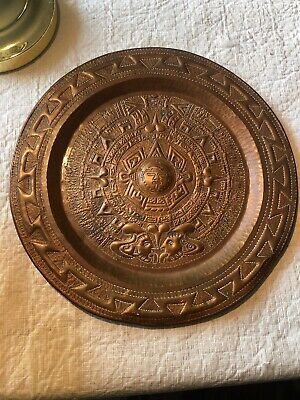 """Vintage Mexican Copper Aztec Mayan Embossed Wall Calendar Plaque Plate 12"""""""