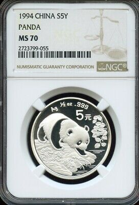 China 1994 Silver 5 Yuan Panda,  1/2oz, NGC graded MS70 Perfect ! no toning