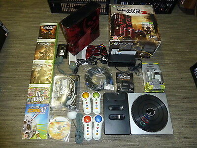 MICROSOFT XBOX 360 SLIM Gears of War Ltd CONSOLE 20GB 6 Games Controllers Bundle
