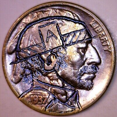 1937 HOBO Nickel Hand Carved /Engraved Coin RAINBOW TONE Buffalo #17  NO RESERVE