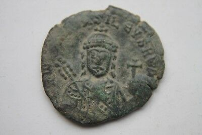 ANCIENT BYZANTINE BRONZE CONSTANTINE VII FOLLIS COIN of 10th CENTURY AD