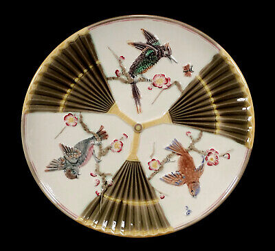 Antique Wedgwood English Majolica Pottery Plate Japonesque Bird & Fan Pattern