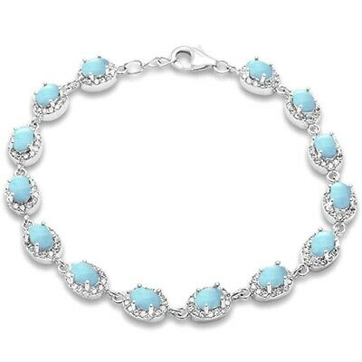 "Oval Natural Larimar & Cubic Zirconia .925 Sterling silver Bracelet 7.5"" Long"