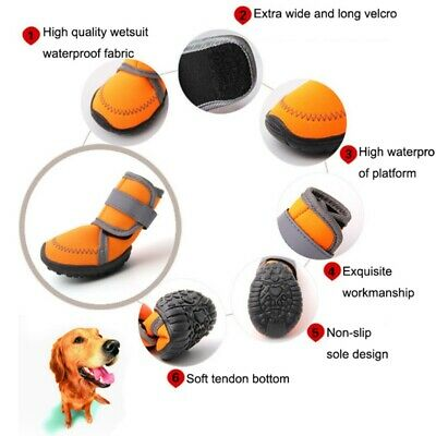 4Pcs Anti-Slip Waterproof Pet Dog Shoes Puppy Winter Warm Snow Boots Protective
