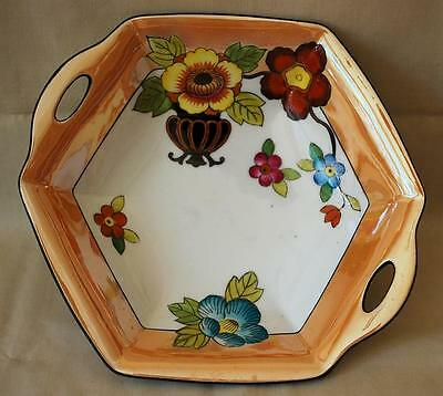Noritake Six Sided Two Handle Serving Bowl Grecian Urn Deco Flowers Tan Lustre