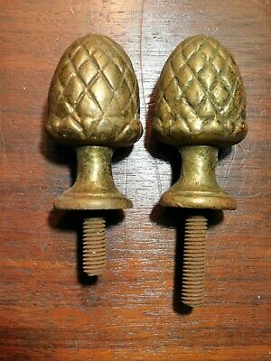Lot of 2 Vintage Architectural Salvage Pineapple Metal Finials