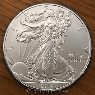 2014 1 Troy oz .999 Fine Silver American Eagle $1 BU Coin from Mint Tube Roll 4