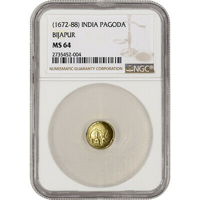 (1672 - 88) India Gold Pagoda - Bijapur - NGC MS64