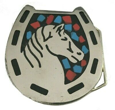 Vtg Horse Horseshoe Belt Buckle Shoe Equestrian Inlay Turquoise Riding 70s Red
