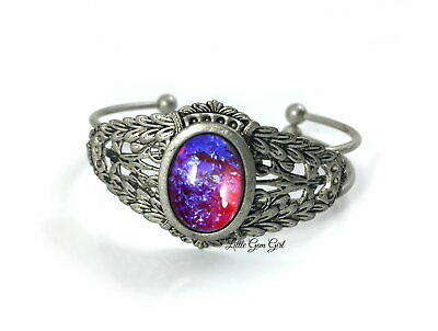 Mexican Opal Filigree Renaissance Cuff Bracelet Medieval Dragons Breath Opal