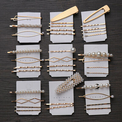 Korean Girls Metal Pearl Hair Clip Combination Elegant Barrette Hairpin Set