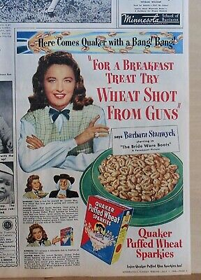 1946 newspaper ad for Quaker Puffed Wheat Cereal - Barbara Stanwyck, colorful ad