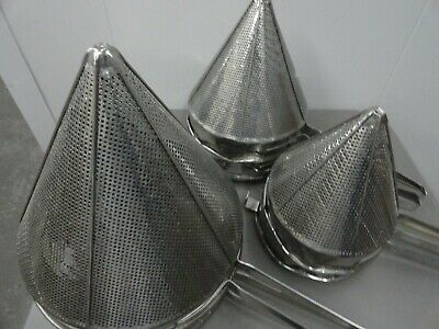 Stainless Steel China Cap  Strainer commercial grade  (6pk) mixed sizes
