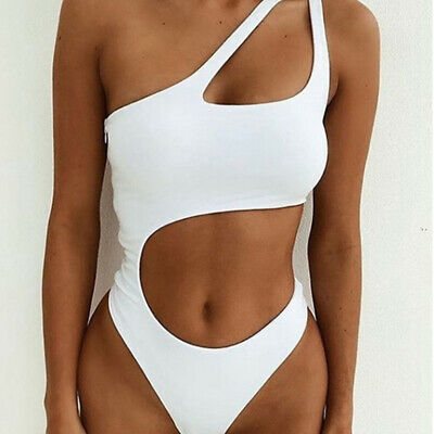 Fashion One-piece Swimsuit Ladies One-shoulder Solid Color Bikini Hollow B