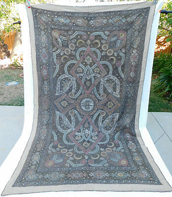 Antique Ottoman Turkish Tugra Colorful Metallic Gold Embroidered Linen Bedspread