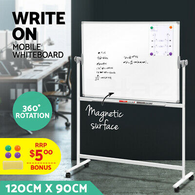 Large Mobile Whiteboard Stand Double Sided Magnets Aluminum Frame 1200x900mm