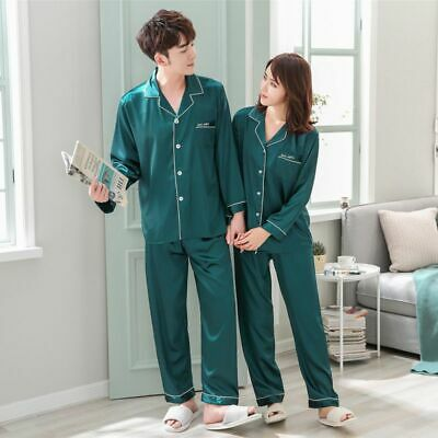Women Men Lovers Silk Satin Pajamas Sets Long Sleeve Pyjamas Sleepwear Nightwear