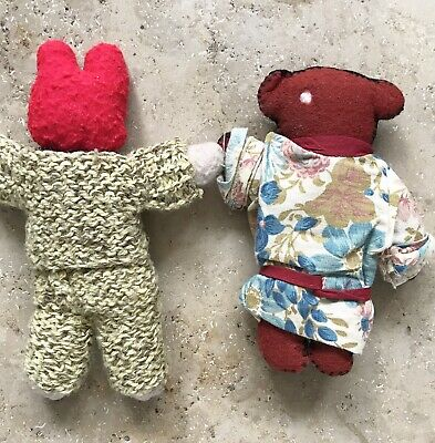 Pair Of Vintage Japanese Soft Toys Rabbit In Suit And Bear In Kimono
