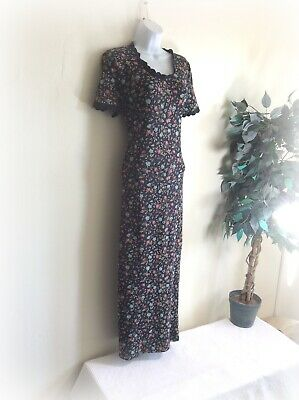 Vintage Laura Ashley Black Floral Maxi Dress Size 14