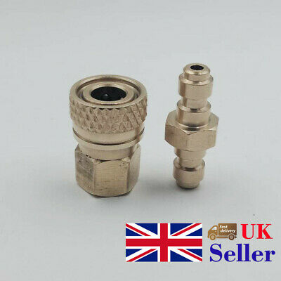 Dual Male To Male Adaptor&8mm Female Pressure Brass Coupling Plug Paintball Tank