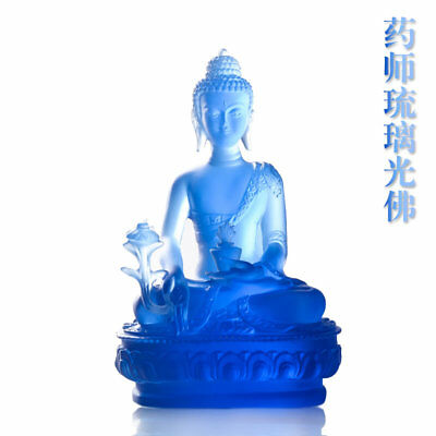 Glazed Buddha statue Blue pharmacist Buddha Fengshui for the ornament of Buddha
