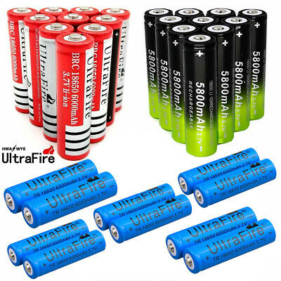 6000mAh 18650 Battery Charger 3.7V Rechargeable For Flashlight Torch Batteries *